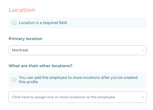 Add employee location - Agendrix