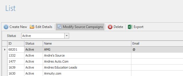 Select a lead source, then modify campaigns.
