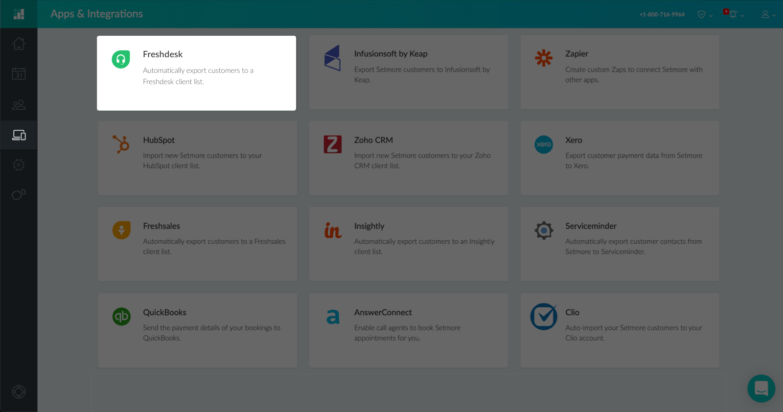 The Setmore Integrations Dashboard