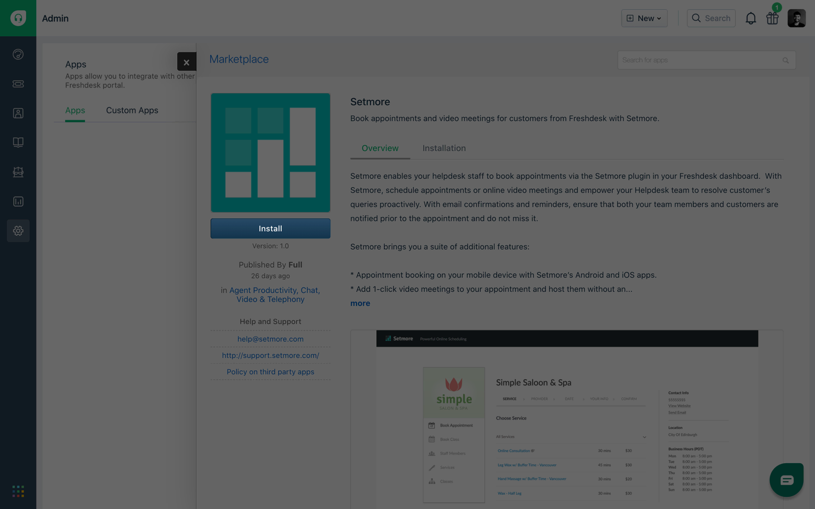 The Install button on the Setmore Plugin in the Freshedesk marketplace