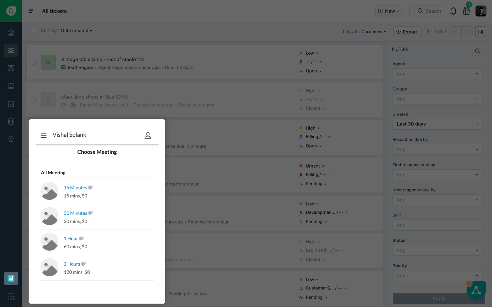 Booking appointments inside your Freshdesk dashboard