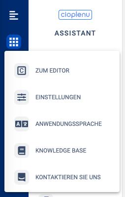Assistant - Einstellungen, Assistant und Editor Switcher sowie Spracheinstellungen