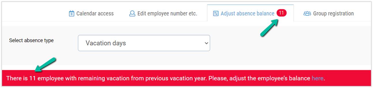 adjusting remaining vacation days