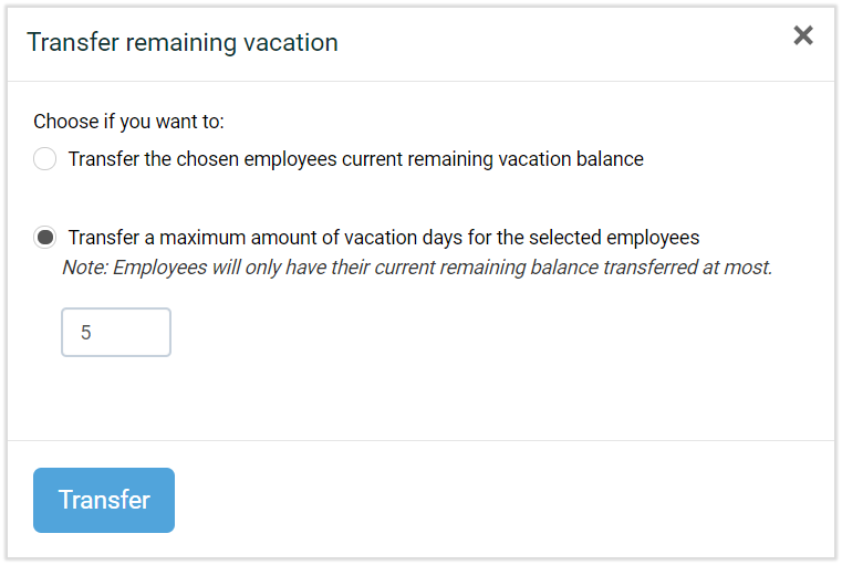 adjusting vacation balance