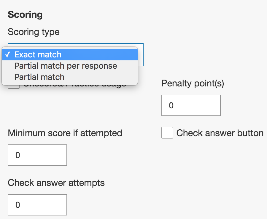 Number line plot question scoring types