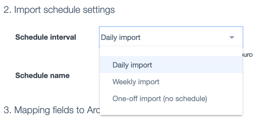 Ardoq import schedule settings