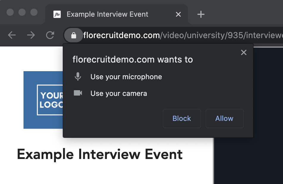 Screenshot of pop-up notification in Chrome requesting browser permissions