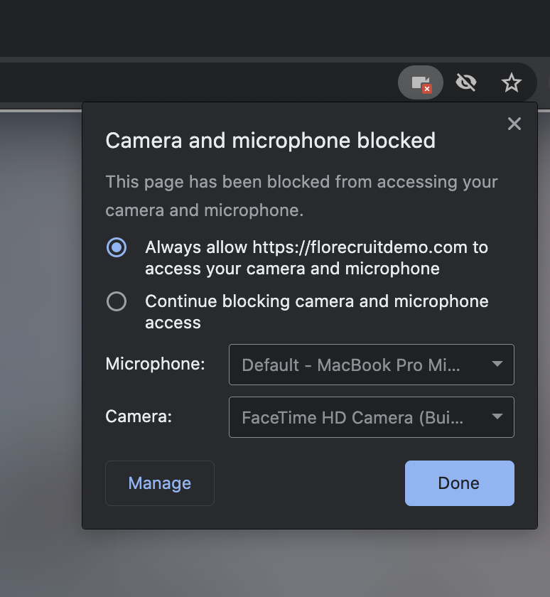 Screenshot of re-setting browser permissions after blocking or exiting
