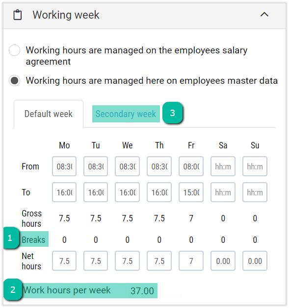 work hours per week