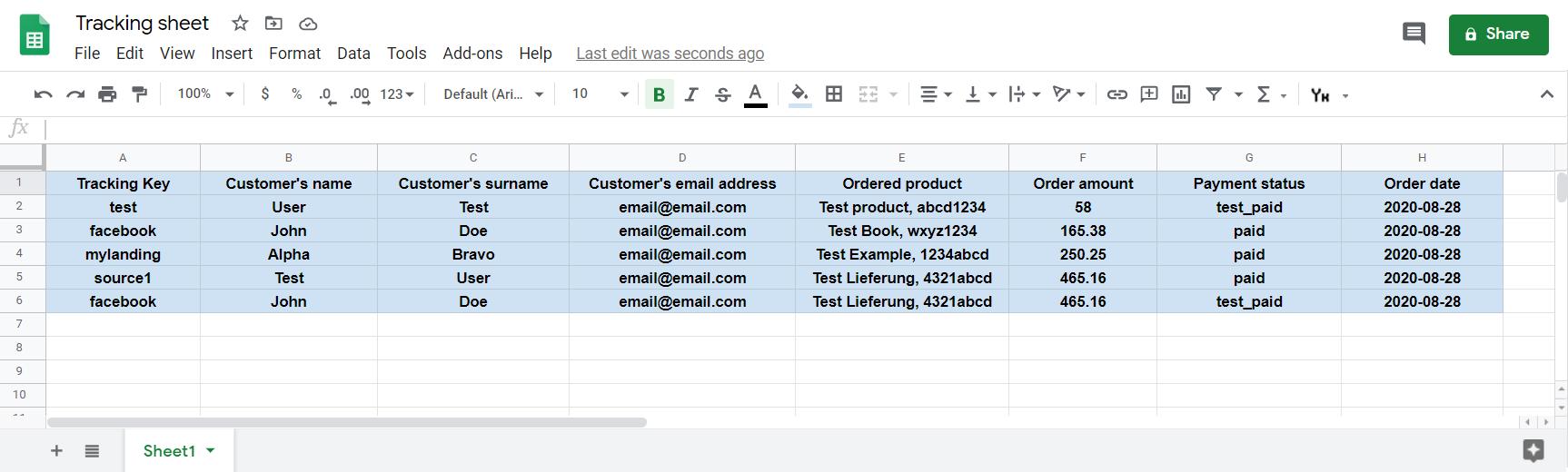 Metadata examples