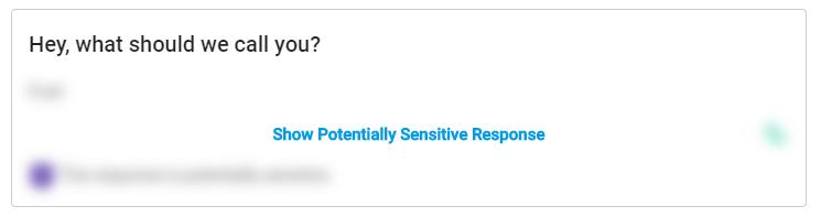 Example sensitive response