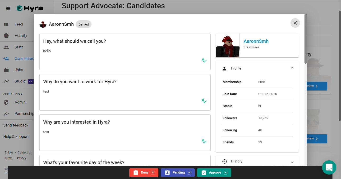 Candidate Viewer example Candidate