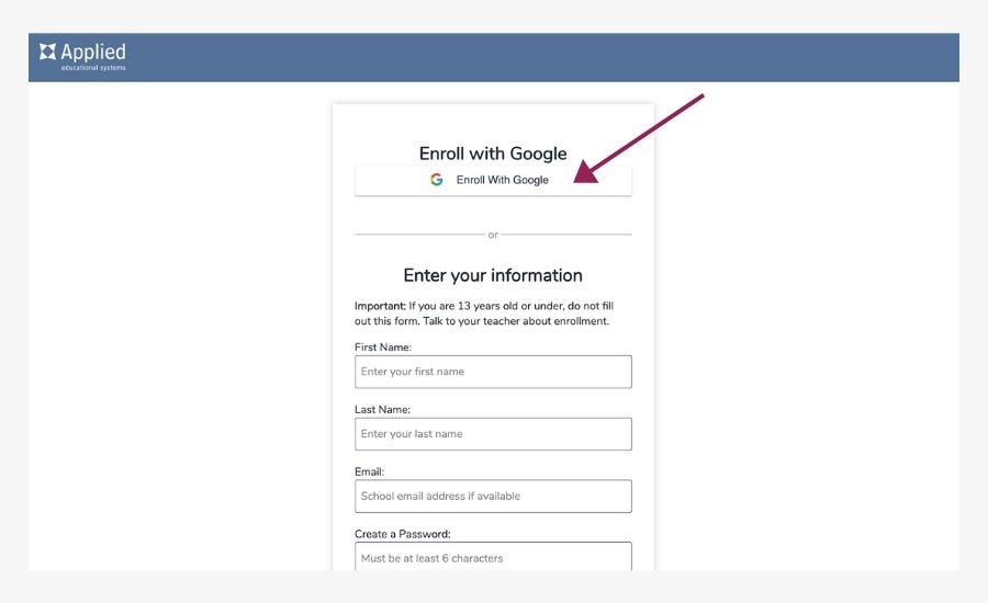 enroll with google button