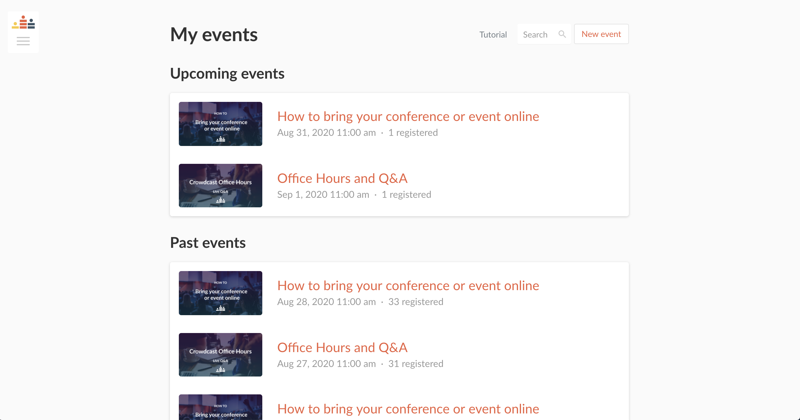 Screenshot of the My Events section in your Crowdcast dashboard