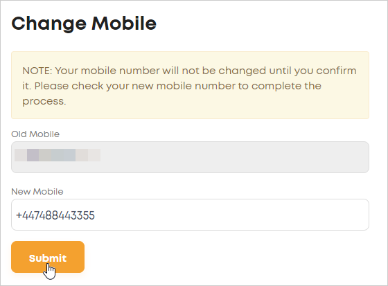 LawTap Change Mobile form