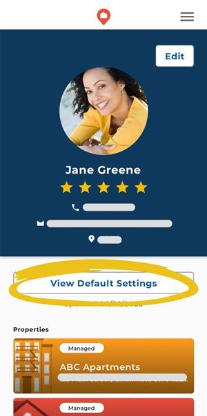 Edit property default settings in the HOMEE app