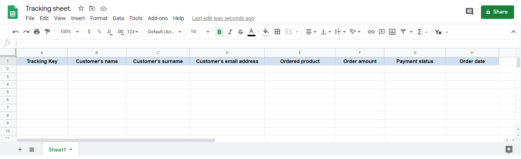 Google Sheet example configuration