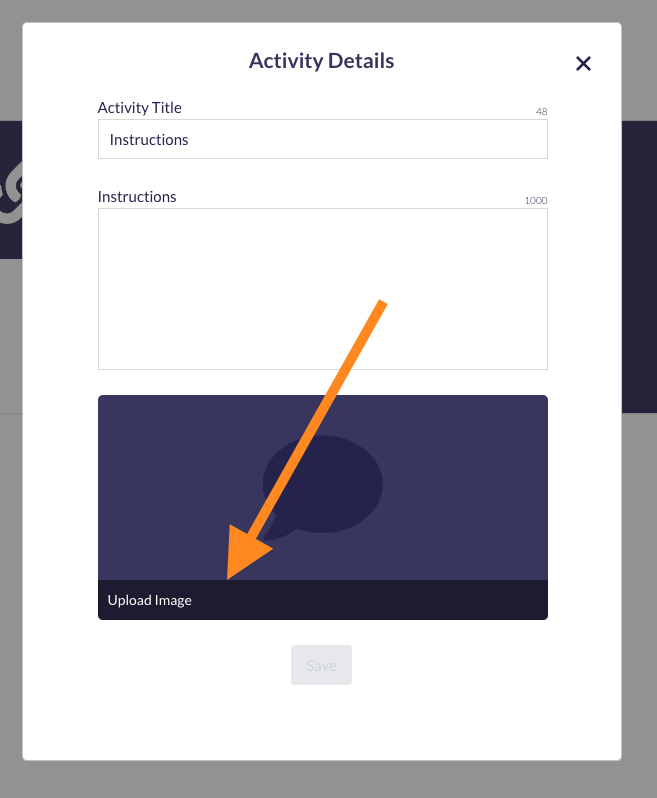 Screenshot of Activity tile with Upload Image button highlighted