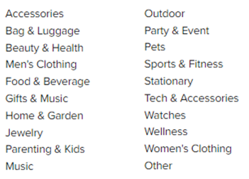 Accessories Outdoor Bag Luggage Beauty Health Men Clothing Food Beverage Gifts Music Home Garden jewelry Parenting kids music party event pets sports fitness stationary tech accessories watches wellness womens clothing other