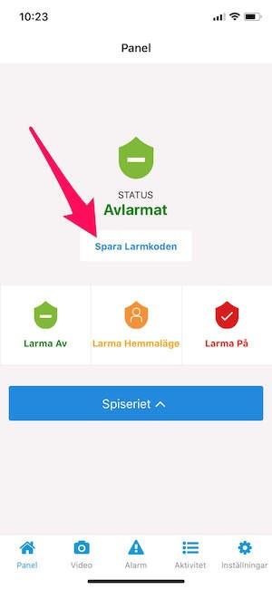 spara larmkoden lagra svenska alarm app