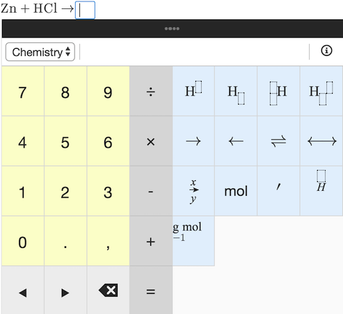 Chemistry Formula Cloze question example