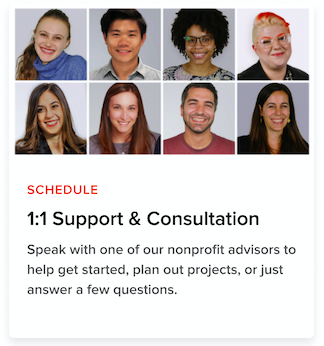 Photos of 8 Catchafire team members headlining the call to schedule a 1 on 1 call with our Nonprofit Advisors