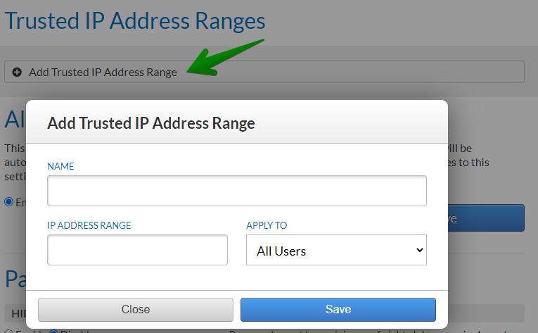 Trusted IP Address Ranges setting