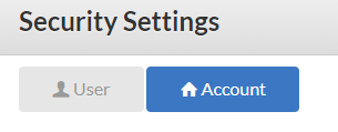 User and Account Security settings
