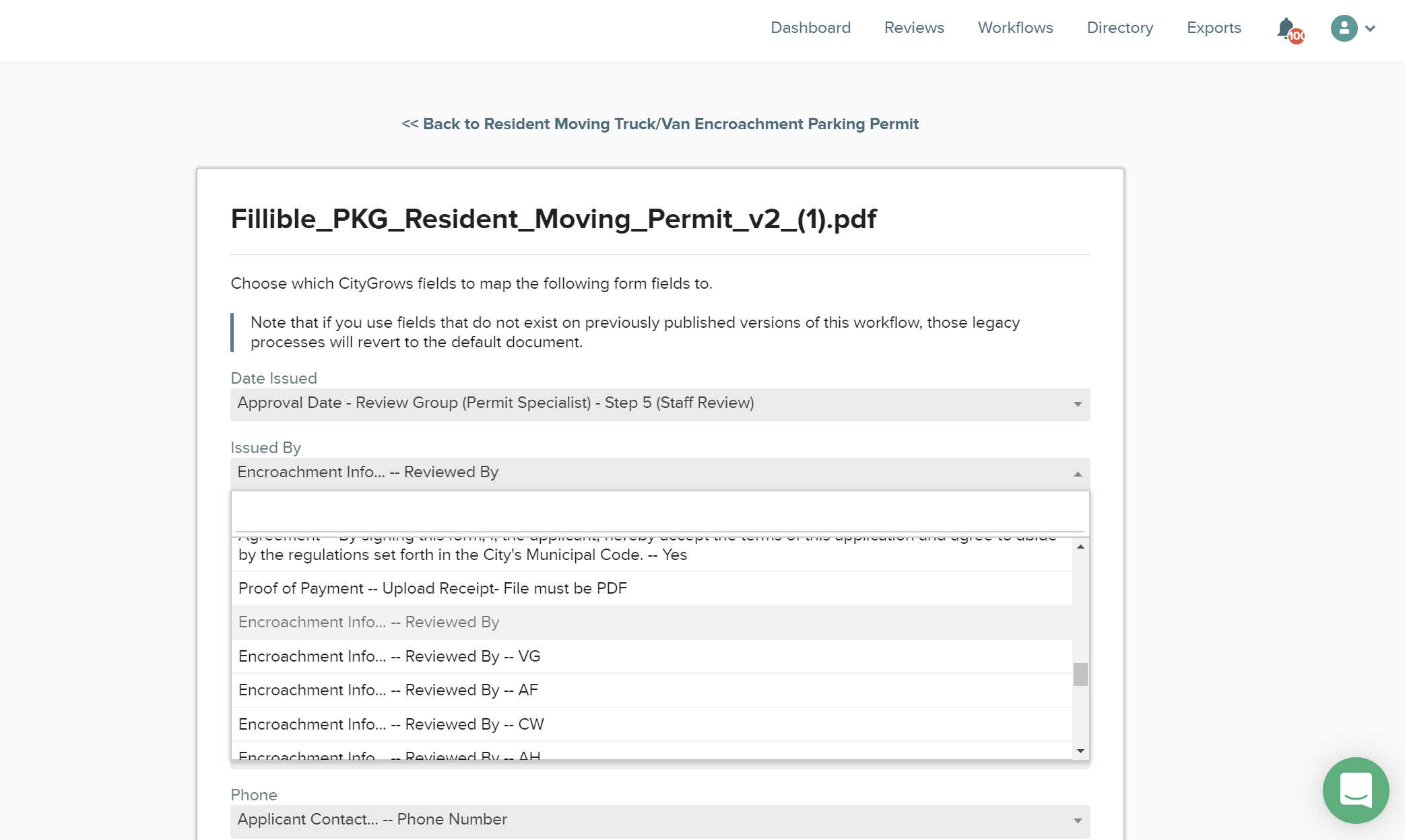 CityGrows fillable pdf page