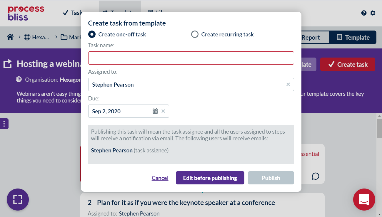 Screenshot showing the dialog where you create a task from a template.