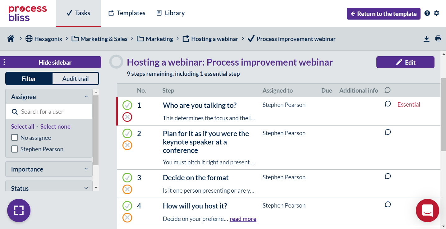 Screenshot showing a task with steps that can be completed.