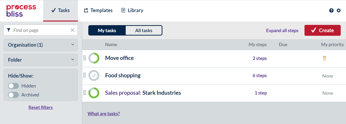 Screenshot showing a user's task list.