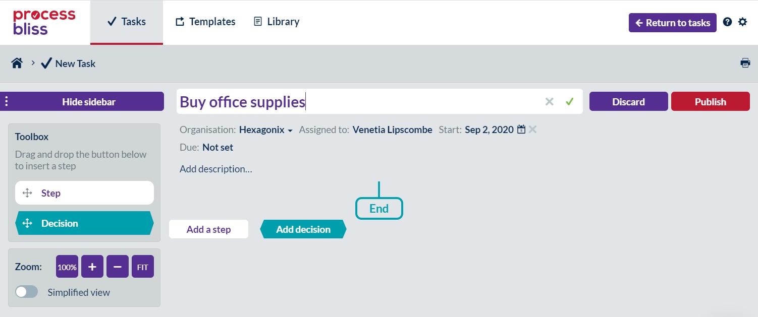 Screenshot of a new task called