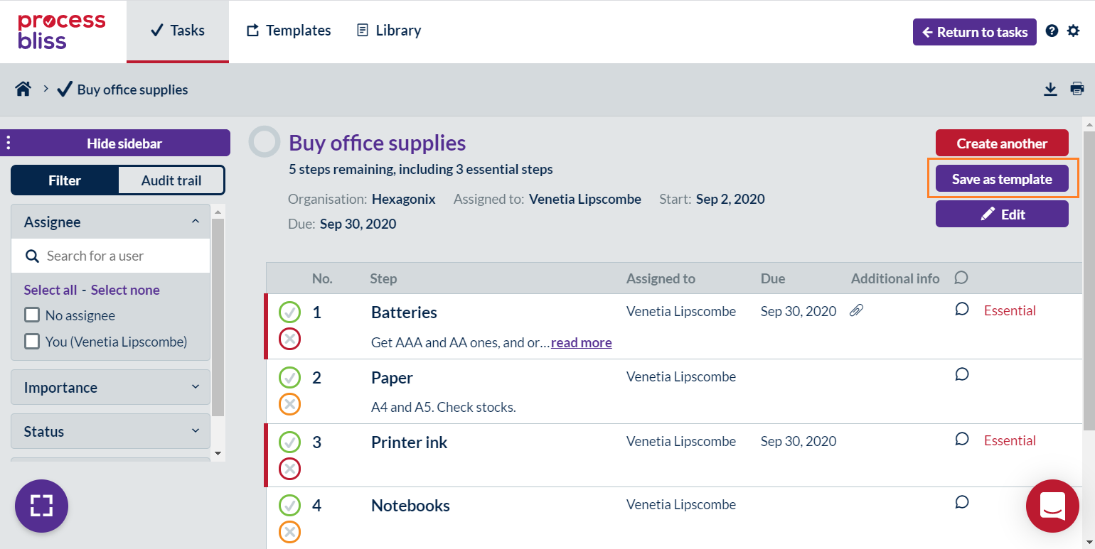 Screenshot showing a published task with the