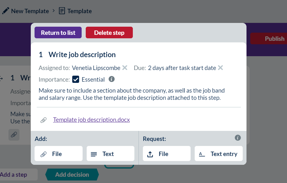 Screenshot showing a document added to a step.