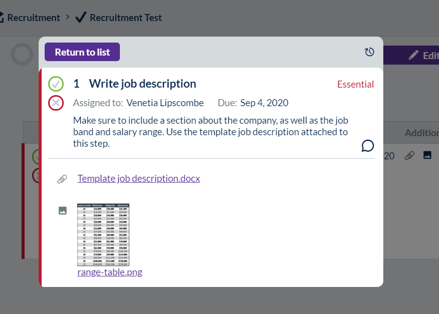 Screenshot showing a published step on a task, with a file and image attached.