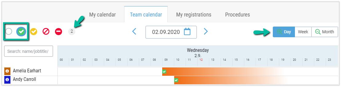 check in calendar