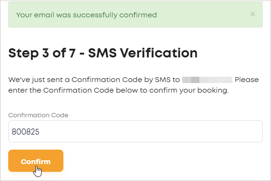 LawTap Step 3 of 7 - SMS Verification form