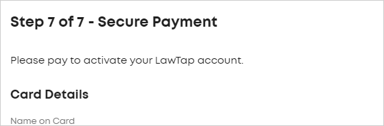 LawTap Step 7 of 7 - Secure Payment form
