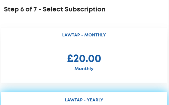 LawTap Step 6 of 7 - Select Subscription form