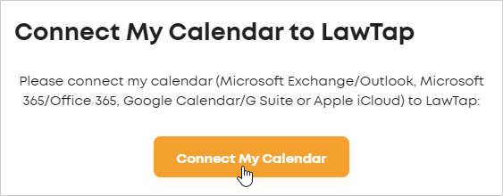 Connect My Calendar to LawTap form