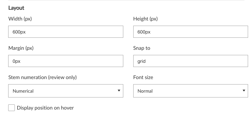 Number line layout settings