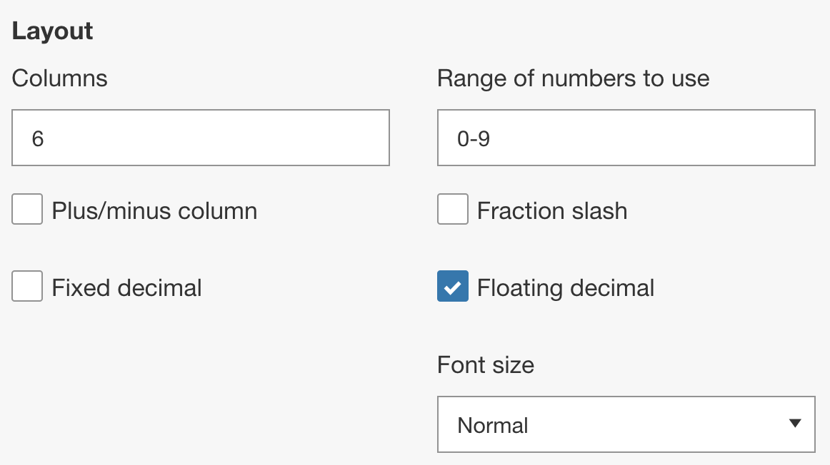 Gridded question layout settings