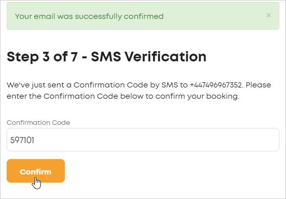 LawTap SMS Verification form