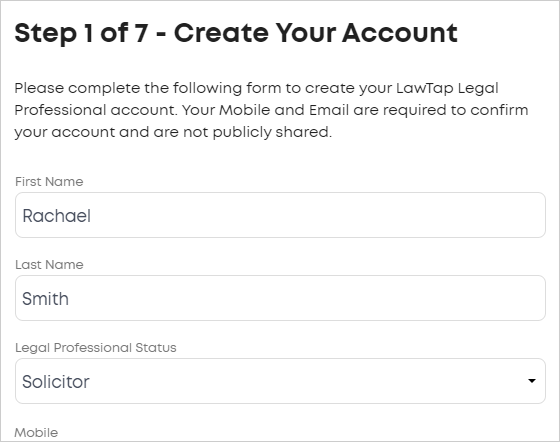 LawTap Step 1 of 7 - Create Your Account form