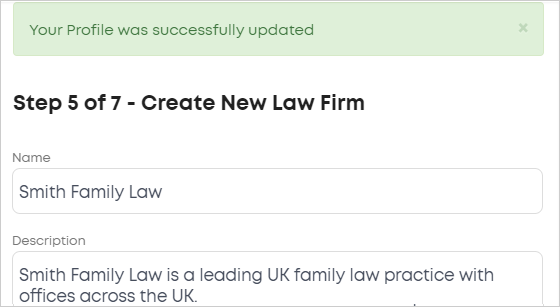 LawTap Step 5 of 7 - Create New Law Firm form
