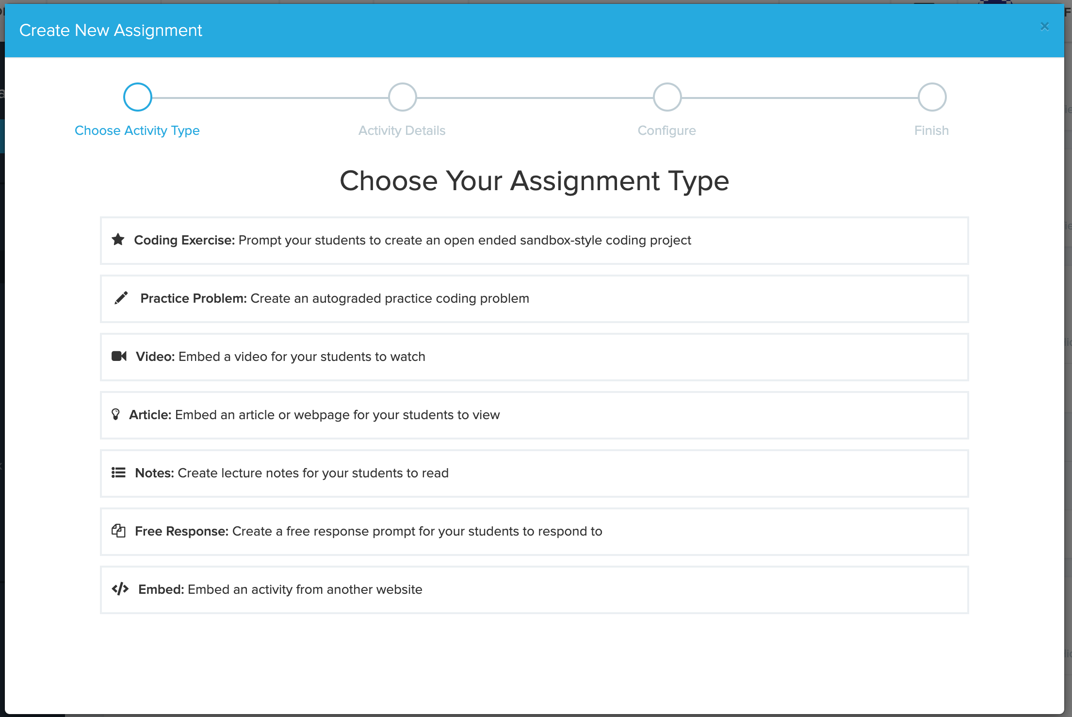 assignment creation menu with four tabs, first is selecting type