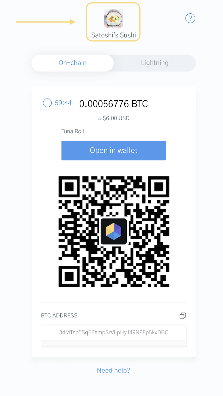 Image of a Bitcoin Checkout focusing on the company name and logo in the OpenNode checkout