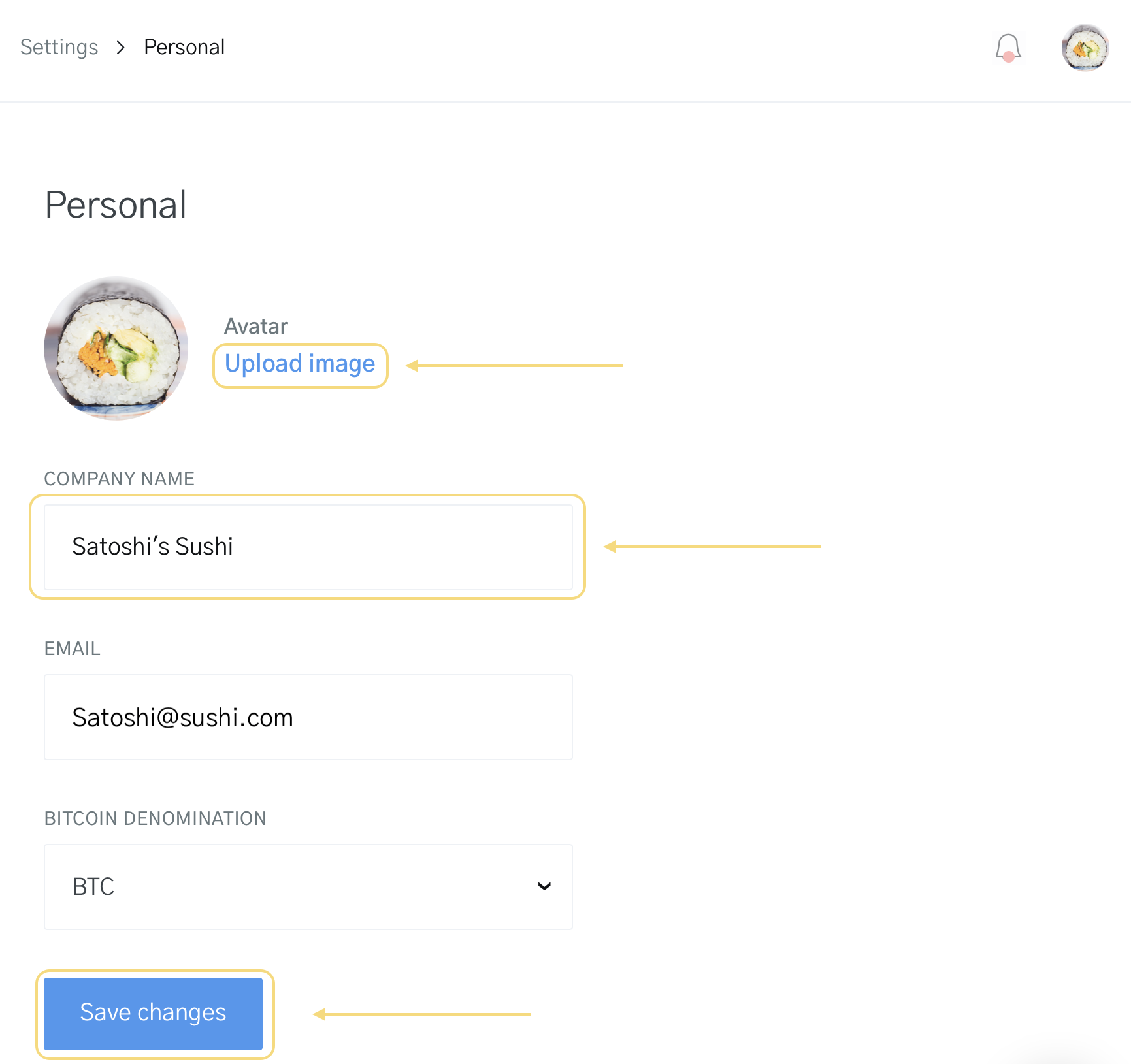 Image of changing personal information for your company name and logo on OpenNode