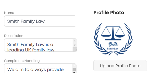 LawTap Firm Profile - About Firm tab options